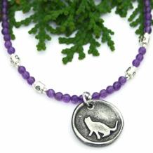 PURRFECT -  Kitty Cat Pendant Necklace, Purple Amethyst Gemstone Pewter Trendy Handmade Feline Jewelry