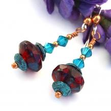 """Radiant in Ruby Red"" - Ruby Red Valentines Earrings, Aqua Crystals Mykonos Handmade Artisan Beaded Jewelry"