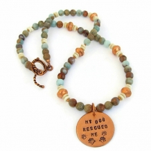 """""""My Dog Rescued Me"""" - My Dog Rescued Me Artisan Necklace, Jasper Gemstones, Copper, Handmade Jewelry"""
