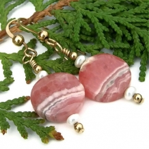 FOR THE PLEASURE OF PINK - Pink Rhodochrosite, Pearls and Gold Filled Handmade Earrings