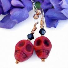 DAY OF THE DEAD - Red Skull Day of the Dead Handmade Earrings, Swarovski Copper
