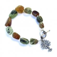 CRANN NA BEATHA - Tree of Life Green Garnet Bracelet, Sterling Gemstone Unique