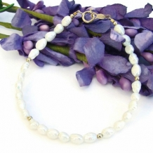 LOST AND FOUND - White Pearl Gold Filled Handmade Bracelet, Unique Jewelry