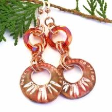 RING-A-LINGS - Rustic Hoop Handmade Boho Earrings, Polymer Clay Red Magma Swarovski Jewelry