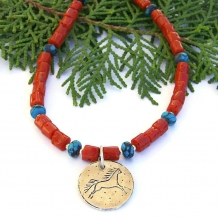 """Running Wild"" - Sterling Horse Pendant Necklace, Vintage Red Coral, Turquoise, Handmade Jewelry"