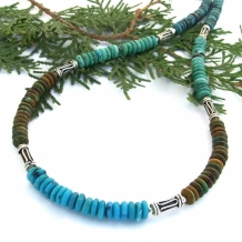 Sedona - Southwest Turquoise Necklace in Four Colors, Bali Silver Snake Tubes Handmade Gemstone Jewelry
