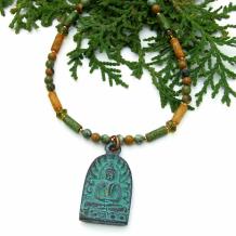 COMPASSION AND PEACE - Rustic Shakyamuni Buddha Necklace, Handmade Yoga Jewelry for Women