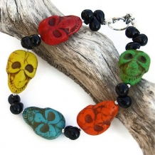 SPOOKY! - Skull Bracelet, Halloween Day of the Dead Magnesite Onyx OOAK Jewelry