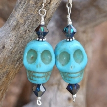 SPARKLY SKULLS - Skull Day of the Dead Earrings, Handmade Turquoise Magnesite Swarovski Jewelry