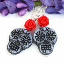 SKULLS AND ROSES - Sugar Skulls and Red Roses Earrings, Day of the Dead Halloween Jewelry