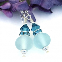 """Softly Sapphire"" - Frosted Aqua Blue Lampwork Earrings, Crystals Handmade Artisan Dangle Jewelry"
