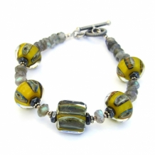 """Solar Flare"" - Yellow and Gray Lampwork Boro Glass Bracelet, Labradorite Hematite Handmade Jewelry"