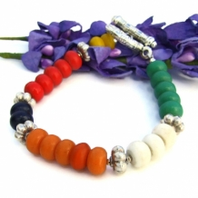 """Song of the Kalahari"" - Color Block African Bone Handmade Bracelet, Thai Fine Silver Beaded Artisan Jewelry"