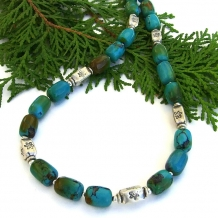 """Southwest Dreaming"" - Turquoise and Thai Fine Silver Handmade Necklace, Gemstone Artisan Beaded Jewelry"