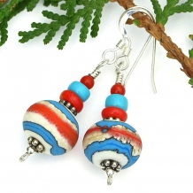 """Southwest Dreaming"" - Southwest Lampwork Handmade Earrings, Turquoise Coral Red Sterling Artisan Jewelry"