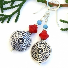 """Southwest Floral"" - Southwest Floral Handmade Earrings, Artisan Red Coral Blue Czech Glass Beaded Jewelry"