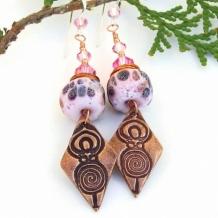 SPIRAL GODDESS - Spiral Goddess Handmade Earrings, Rustic Pink Lampwork Swarovski Jewelry