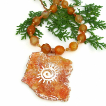 DESERT SUN - Spiral Sun Pendant Necklace, Polymer Clay Petroglyph Handmade Jewelry