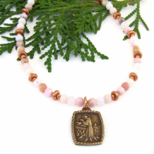 GIVE YOU PEACE - St Francis of Assisi Blessing Necklace, Pink Opal Handmade Jewelry