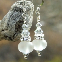 """Star Shine"" - Handmade Bride Wedding Earrings, Lampwork Crystals Sparkling Jewelry"