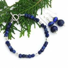 """Starry, Starry Night Sky"" - Lapis Lazuli Bracelet and Earring Set, Handmade Pewter Sterling Gemstone Jewelry"