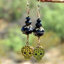 """Sugar Skulls"" - Sugar Skulls Handmade Earrings. Black Lampwork Day of the Dead Jewelry"