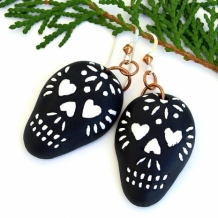 """Sugar Skulls"" - Sugar Skull Earrings, Halloween Day of the Dead Black and White Ceramic Handmade Jewelry"