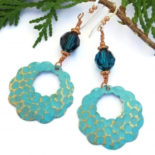 """Tantalizing Turquoise"" Turquoise Brass Hoop Earrings Boho Artisan Handmade Crystal Jewelry"