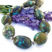 """Tohatchi"" - Genuine Turquoise Necklace, Chunky Handmade Southwest Gemstone Statement Jewelry"