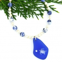 """Tortuga"" - Blue Sea Glass Turtle Pendant, Sodalite Pearls Handmade Beach Jewelry"