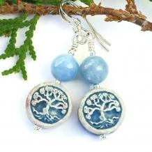 TREE OF LIFE - Tree of Life Earrings, Ceramic Aquamarine Sterling Handmade Artisan Jewelry