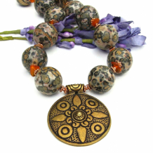 LA CROIX - Brass Cross Necklace, Chunky Leopardskin Jasper Amber Handmade Jewelry