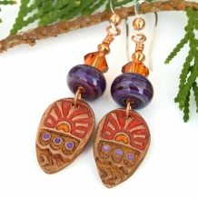 TRIBAL SUNS - Tribal Sun Handmade Earrings, Red Purple Copper Crystal Handmade Jewelry