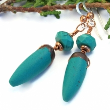 TURQUOISE SPIKES - Spike Earrings, Turquoise and Copper Polymer Clay Handmade Jewelry