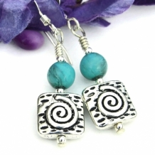 TURQUOISE SWIRLS - Pewter Spiral Handmade Earrings, Smoky Turquoise Czech Glass Jewelry
