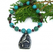 """Uccello"" - Bird Pendant Necklace, Handmade Turquoise Garnet Pewter Beaded Goth Jewelry"