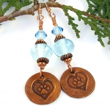 """Unconditional Love"" - Dog Paw Print Earrings Handmade Blue Lampwork Copper Rescue Jewelry"