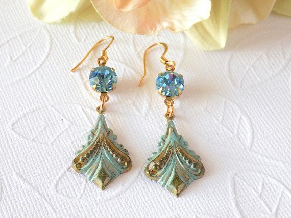 31948b9c8 Art Nouveau Aqua Patina Dangle Earrings Handmade by Linda of  TreasuresofJewels