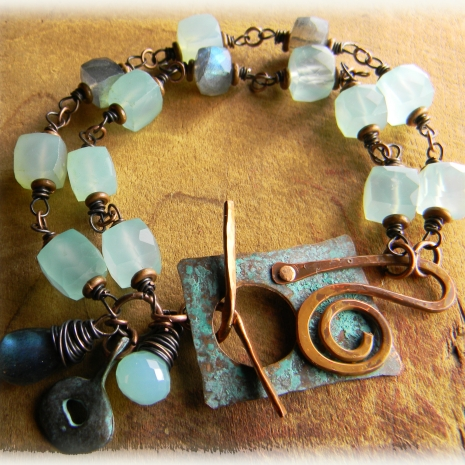 Rustic Copper Bracelet With Aqua Chalcedony Blue Flash Labradorite Beaded Ooak Jewelry Handmade By Gloria Of Chysalis Tribal