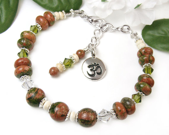 Unakite And Crystals Bracelet With Om Charm Chaplet Design Handmade By Mary Of Prettygonzo