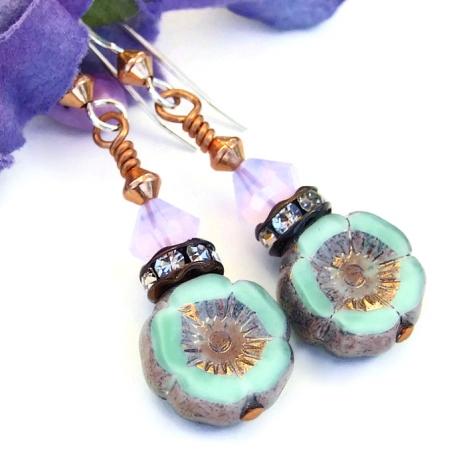 Floral Lampwork Bead Earring Black White Swarovski Rondelle Accents Handmade