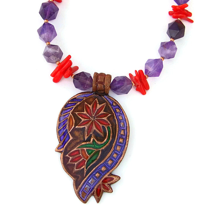 Paisley flower pendant necklace amethyst coral handmade jewelry n2189 08 09 17 aloadofball Images