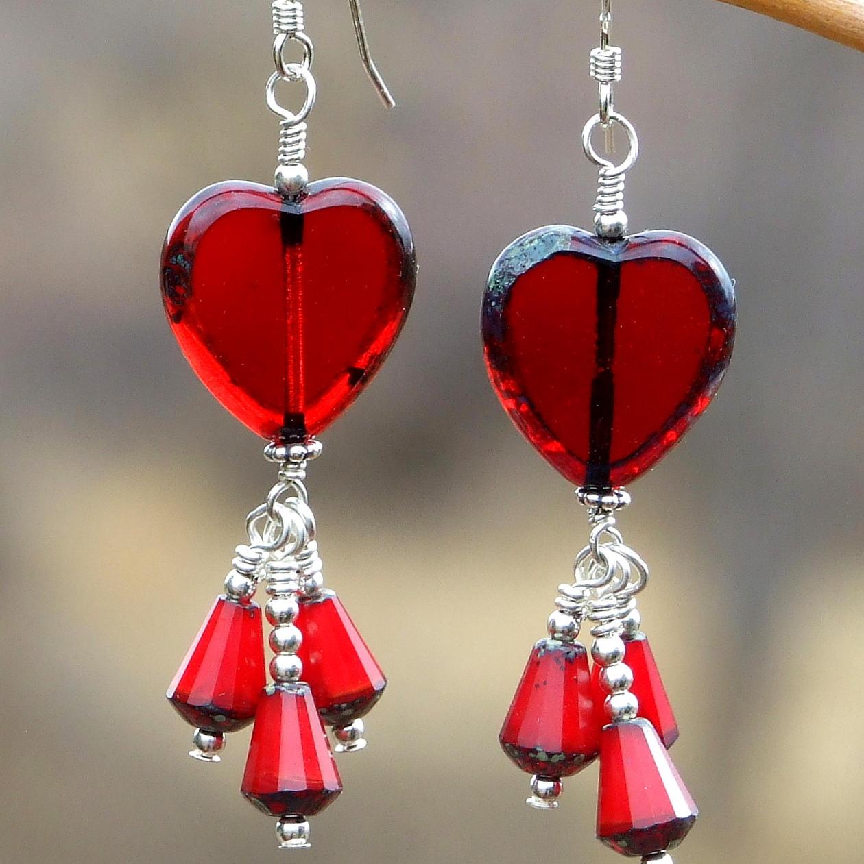 Red Heart Valentine's Day Earrings; Valentine's Heart Earrings