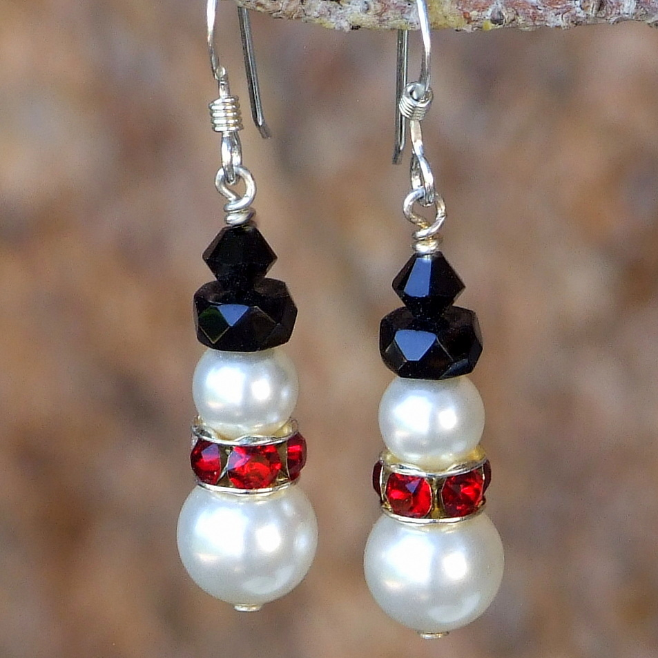 Snowman Christmas Earrings Swarovski Pearls Crystals Handmade Jewelry Shadow Dog Designs
